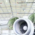 Aircraft turbine in the front, tube heaters from Schwank under the ceiling.