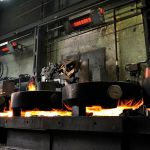 The luminous heater primoSchwank of the Schwank brand in a steel mill.